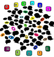 Silhouette head social networking color vector image