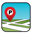 Street map icon with the pointer parking vector image