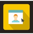 Mouse cursor pointing to a person on monitor icon vector image