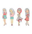 cartoon girls set hand drawn vector image