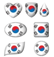 South Korean Flag in various shape glossy button vector image vector image