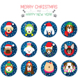 Christmas and Dog Breeds Icons vector image