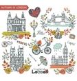 London landmarkAutumn leaves wteath group vector image