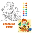 Baby on the sand coloring book vector image