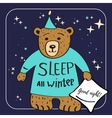 Brown Bear Cartoon Character Sleep all winter vector image