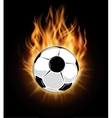 Burning soccer ball isolated over black background vector image
