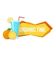 Cocktail and oranges with text vector image