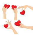 graceful woman hands holding heart design set vector image