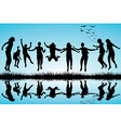 Group of boys and girls jumping outdoor vector image