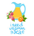jug with juice and orange design for summer vector image