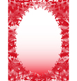 Oval frame with floral elements in pink hues vector image