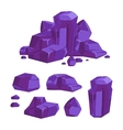 Set of purple crystals white background vector image