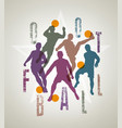 silhouettes of soccer players doing feints vector image