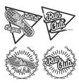 Vintage run club emblems vector image