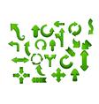 Green arrow icon set vector image vector image