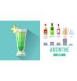 flat style cocktail menu design cocktail absinthe vector image