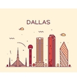 Dallas skyline trendy linear vector image