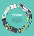 cartoon designer workplace banner card vector image