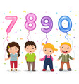 cartoon kids holding number 7890 shaped balloons vector image