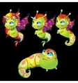 Characters unusual green fish unicorns with wings vector image