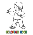 Funny artist or painter Coloring book vector image