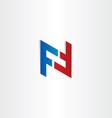 red blue letter f symbol design vector image