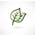 two green leafs vector image