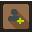 Add friend contact icon flat style vector image