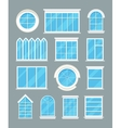 Glass home windows types flat icons vector image