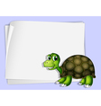 A turtle beside an empty paper vector image vector image