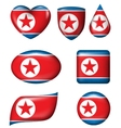 North Korean Flag in various shape glossy button vector image