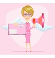 Female winged angel messenger with a message of vector image