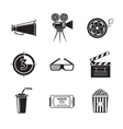 Cinema movie icons set with - projector film vector image