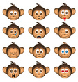 cute chimpanzee head with facial expression of vector image