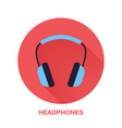 headphones flat style icon wireless technology vector image