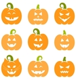 Set of Halloween pumpkins isolated on white vector image