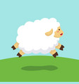 sheep jumping on field background vector image