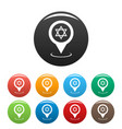synagogue map pointer icons set vector image