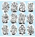 Zodiac icons - doodles set vector image