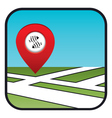 Street map icon with the pointer fish restaurant vector image vector image