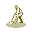 Gardener Landscaper Digging Shovel Retro vector image