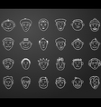 icon set 24 differents mans faces vector image vector image
