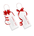 Sale Labels Set with Red Bow and Ribbon vector image