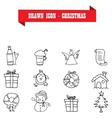 Christmas icons of hand drawn vector image
