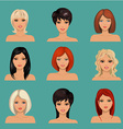 collection of portraits a beautiful girls vector image