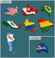 Countries Terrain - Americas and Oceanian vector image