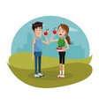 couple eat apple diet sport design vector image