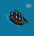 pirate sailer on a blue background vector image