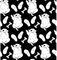 Puppy cute rest sleep relax seamless pattern black vector image