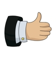 Thumb up icon in cartoon style isolated on white vector image